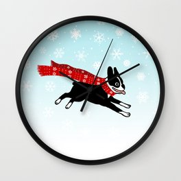 Red Winter Scarf Dog Wall Clock