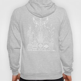 Santa Fe Garden – White Ink on Black Hoody