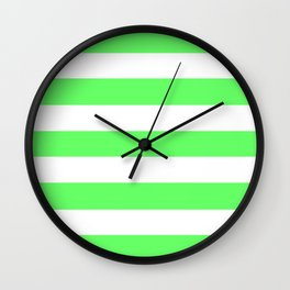Screamin' Green - solid color - white stripes pattern Wall Clock