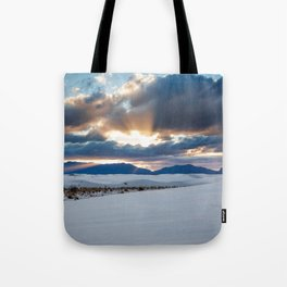 One More Moment - Sunbeams Burst From Clouds Over White Sands New Mexico Tote Bag