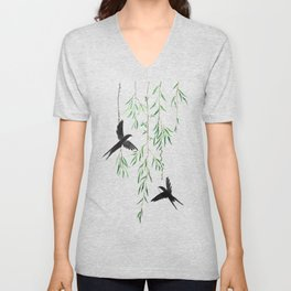 green willow leaf and swallow watercolor Unisex V-Neck