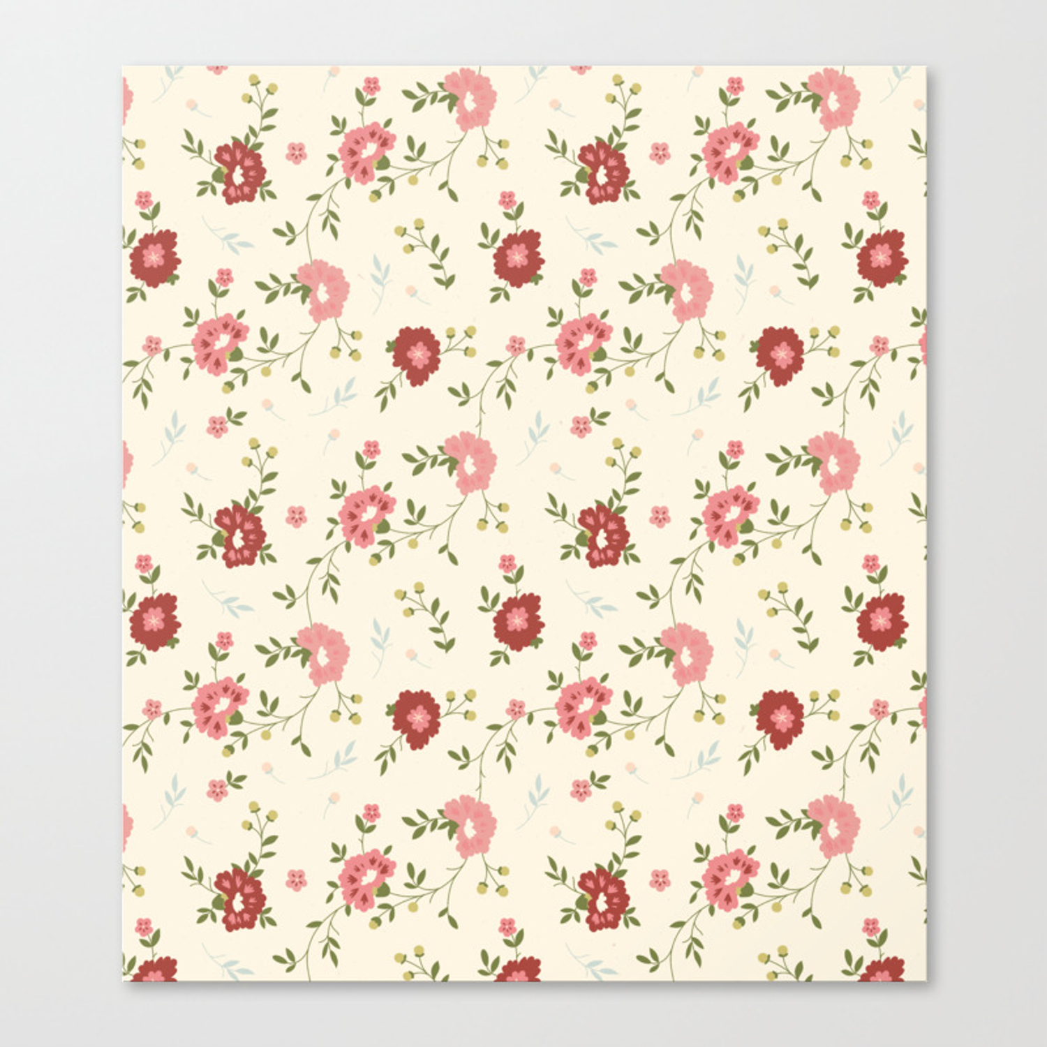 Vintage Spring Floral Background Canvas Print By Drawfine Society6