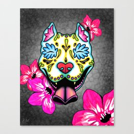 Slobbering Pit Bull - Day of the Dead Sugar Skull Pitbull Canvas Print