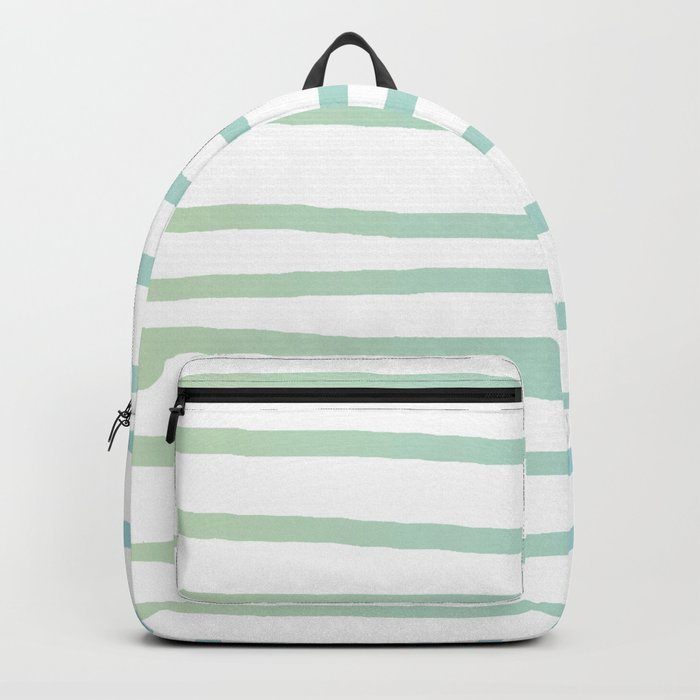 Simply Drawn Stripes in Turquoise Green Blue Gradient on White Backpack