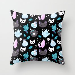 Herb Witch // Black Throw Pillow