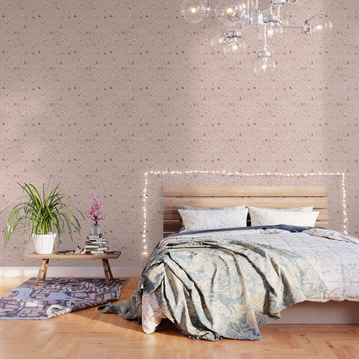 Blush Pink Rose Gold Terrazzo Wallpaper