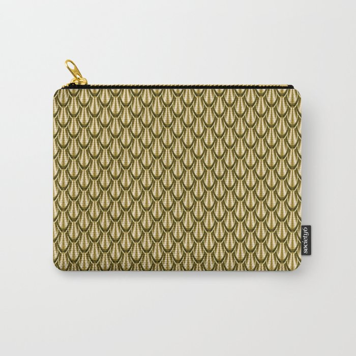 Gleaming Gold Leaf Scalloped Scale Pattern Carry-All Pouch