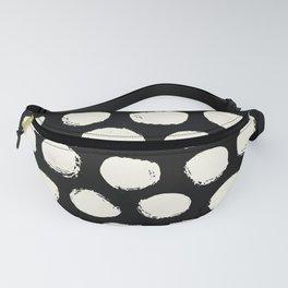 Trendy Cream Polka Dots on Black Fanny Pack