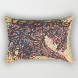 Abstract Horse Digital Ink Pollock Style Rectangular Pillow