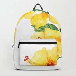 Yellow hibiscus tropical flowers design Backpack