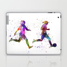 Girls playing soccer football player silhouette Laptop & iPad Skin