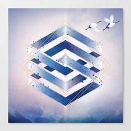 Indigo Hexagon :: Floating Geometry Canvas Print