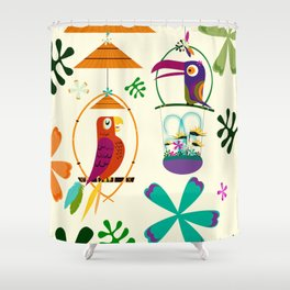 Vintage Modern Tiki Birds Shower Curtain
