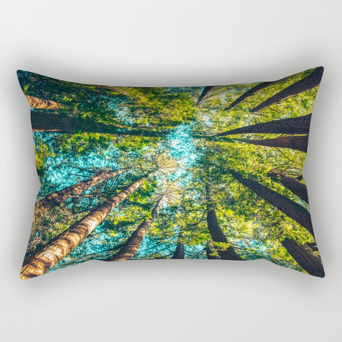 Looking Up At Trees In A Dense Forest Rectangular Pillow
