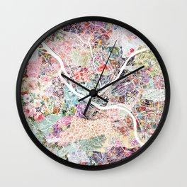 Pittsburgh map - Landscape Wall Clock