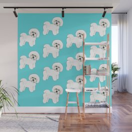 Bichon Frise on aqua / teal / cute dogs/ dog lovers gift Wall Mural