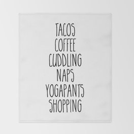 Tacos & Coffee Funny Quote Throw Blanket