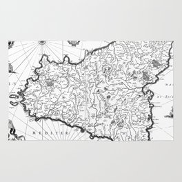 Vintage Map of Sicily Italy (1600s) BW Rug