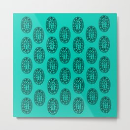 Ancient Egyptian Amulet Pattern Turquoise Blue Metal Print