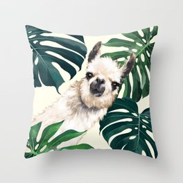 Sneaky Llama with Monstera Throw Pillow