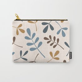 Assorted Leaf Silhouettes Blues Brown Gold Cream Carry-All Pouch