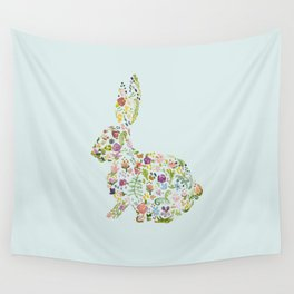 Spring Flowers Bunny on Blue Wall Tapestry