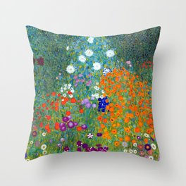 Gustav Klimt Flower Garden Throw Pillow