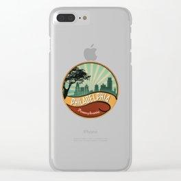 Philadelphia City Skyline Pennsylvania Retro Vintage Design Clear iPhone Case