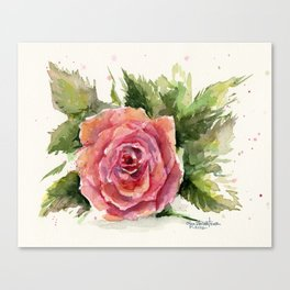 Red Rose Watercolor Pink Rose Flower Floral Art Canvas Print
