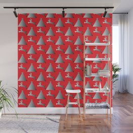 Reindeer Christmas tree Pattern red Wall Mural