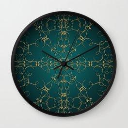 Gold Teal Mandala Wall Clock