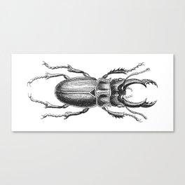 Vintage Beetle black and white Canvas Print