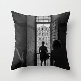 the girl and the cathedral santa maria asunta pisa italy Throw Pillow