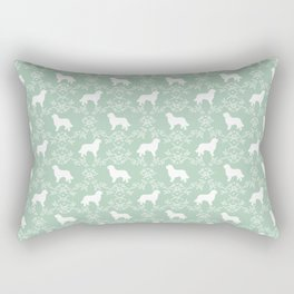 Bernese Mountain Dog florals dog pattern minimal cute gifts for dog lover silhouette mint and white Rectangular Pillow