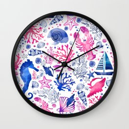 Hand painted blush pink blue watercolor nautical sea pattern Wall Clock