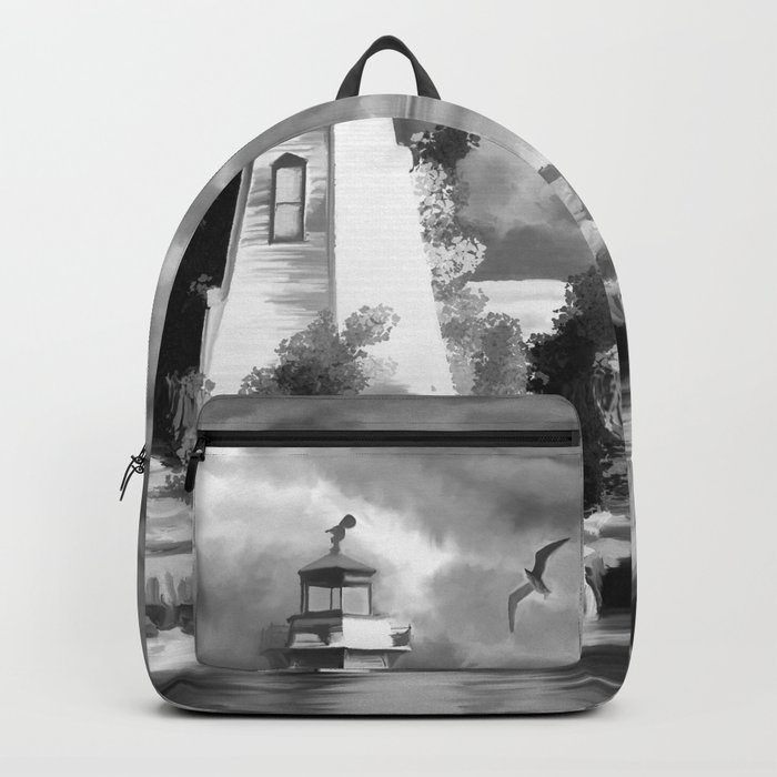 Watercolor Lighthouse Coast (Black and White) Backpack