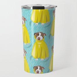 pit bull in rain coat Travel Mug