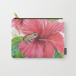 Coqui Frog & Hibiscus Flower Carry-All Pouch