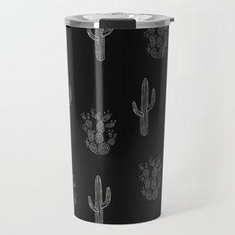 Cactus Pattern Black Travel Mug