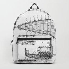 Vintage Viking Naval Ship History and Diagram Backpack