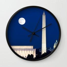Harvest Moon rising over Washington DC Wall Clock