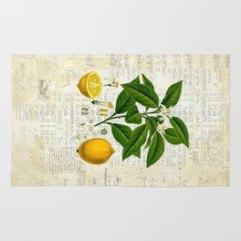 Lemon Botanical print on antique almanac collage Rug