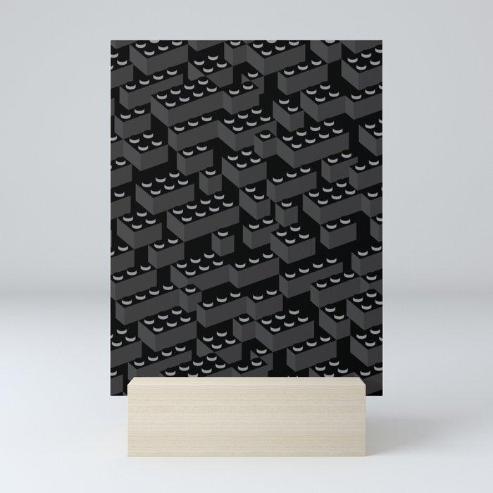 Building Blocks Pattern – Noir Mini Art Print