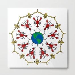 Crawfish Mandala Metal Print
