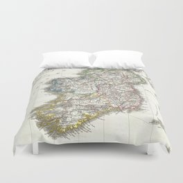 Vintage Map of Ireland (1841) Duvet Cover