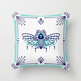 Death's Head Hawkmoth – Navy & Turquoise Palette Throw Pillow