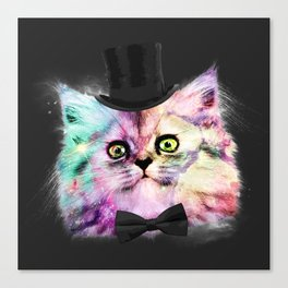 Cosmic kitty likes to be classy Canvas Print