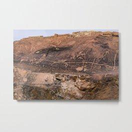 Desert Rock Art Petroglyphs Panoramic Metal Print