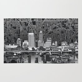 indianapolis city skyline black and white Rug