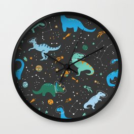 Dinosaurs in Space in Blue Wall Clock